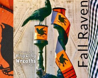 D. Stevens Raven Ribbon gingham check ribbons, fall crow ribbon, crow decor, 4 inch raven ribbon, free shipping ribbons