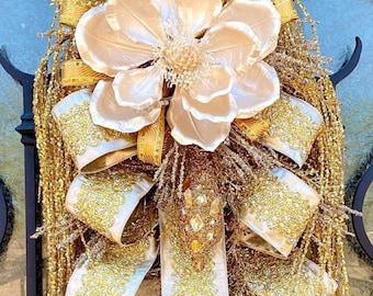 Ritzy Glitzy Wreaths Gold swag, Gold wreath, Magnolia Wreath, jeweled wreath, everyday wreath, fall wreath