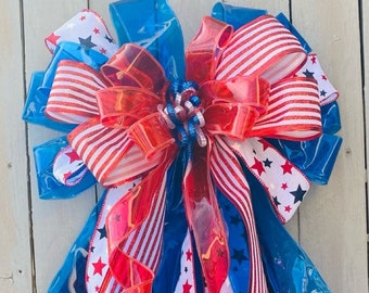Patriotic Bow, 4th of July Bow, Stars and Stripes Bow, American Flag Bow, Summer Bow, wreath bow, Lantern Bow, Patriotic Wreath Bow