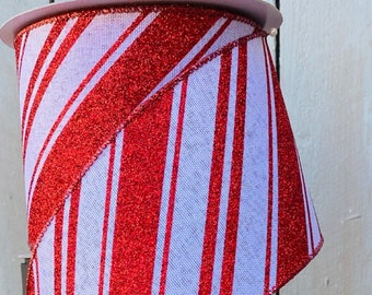 Wired Ribbon, peppermint Striped ribbon, Red and white ribbon, Luxury Ribbon, candy ribbon, Farrisilk Ribbon, Wreath Supplies