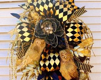 Ritzy Glitzy Wreaths Holiday wreath, black and gold decor, winter wreath, winter decor, fall wreath
