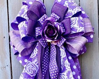 Summer Bow, Purple Bow, Cancer Bow, wreath bow, Lantern Bow, stairway bow, Big bow, rag bow, polka dot bow, ribbon bow, bow