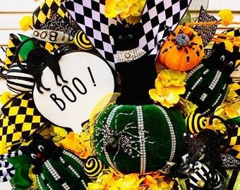 Black Cat Halloween wreath, Cat Wreath,  Halloween wreath, Halloween Cat, Black Cat, October 31, Cat gifts