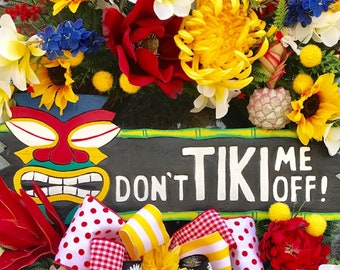 Summer wreath, tiki decor, TIKI Wreath, Summer Decor, Tropical Wreath, Tropical Flowers, Tropical Decor, Hawaii wreath