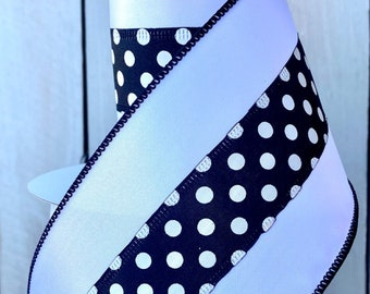 White border with center polka dots ribbon, black and white ribbon, holiday ribbon, Polka dot ribbon, Wreath Supplies, Farrisilk ribbon