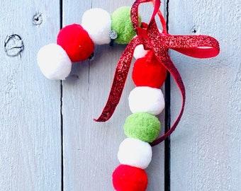 Candy cane ornament, felt balls, ball ornament
