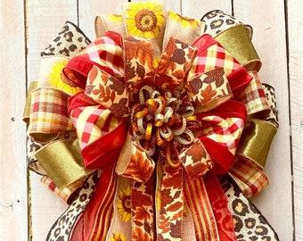 Fall Bow Wreath, Autumn Bow, Autumn bow wreath, Fall decor, Harvest Bow for wreath, Fall door Bow, Autumn bow, Fall door swag, fall decor,
