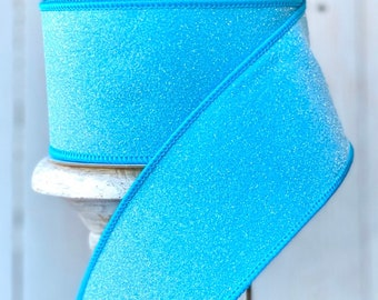 "Farrisilk Ribbon, Candy ribbon, blue ribbon, turquoise ribbon, glitter Luxury Ribbon, Wreath Supplies, 2.5"" ribbon"