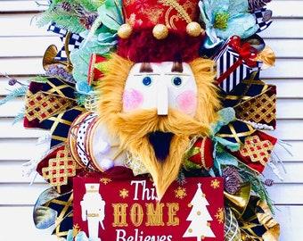 Ritzy Glitzy Wreaths Nutcracker Wreath, Christmas Wreath, nutcracker swag ,Front Door Wreath, Holiday nutcracker Decor, nutcracker decor