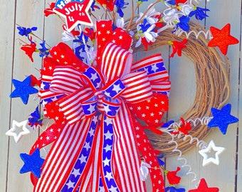 Patriotic Wreath for Front Door, Patriotic Front Door Wreath. American Wreath for Front Door, 4th of July Wreath for Front Door