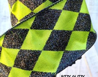 Farrisilk Ribbon, Lime green with black harlequin ribbon, Luxury Ribbon, Wreath Supplies