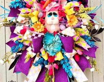 Ritzy Glitzy Wreaths, Wreath, Easter Bunny Wreath, Easter Bunny Door Wreaths, Easter Wreaths for Front Door Wreath