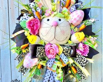 Ritzy Glitzy Wreath, Easter Wreath, Easter Bunny Door Wreaths, Easter Wreaths for Front Doors, Spring Door Decor, Spring Wreath