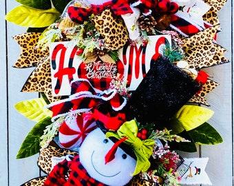 Snowman Wreath, snowman door wreath for Christmas, Christmas Wreath,  Snowman swag, Cheetah Wreath, Holiday Baubles Decor, snowman decor