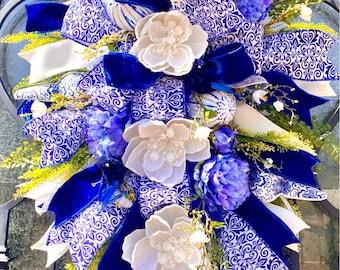 Ritzy Glitzy Wreaths, Holiday wreath, Everyday wreath, chinoiserie Front Door Wreath, Summer swag, wreath, blue wreath, magnolia wreath