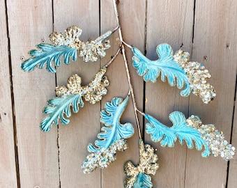 Blue velvet acanthus, blue winter velvet leaves, blue sequins acanthus flowers,  velvet blue floral