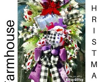 Farmhouse Wreath, Snowman Wreath, Christmas Wreaths, Christmas Swag, Flocked Evergreen Wreath, WInter Wreath