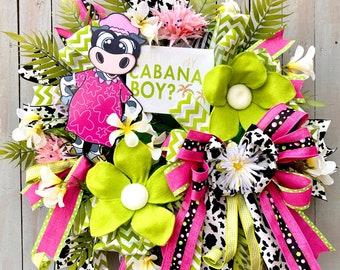 Summer wreath, tropical wreath, cow wreath, Summer Decor, Tropical Flowers, Summertime wreath, Hawaii wreath, cabana boy wreath