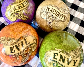 Halloween ornaments, wicked ornament, naughty ornament, evil ornament, envy ornament, Halloween decor, October 31
