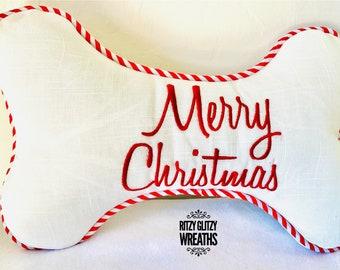 Dog bone pillow, merry Christmas dog bone pillow, merry Christmas pillow, dog gift, dog pillow