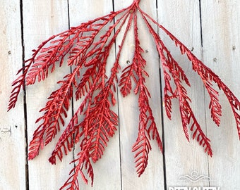 Red glitter fern bush, holiday red floral, red ferns, wreath supplies