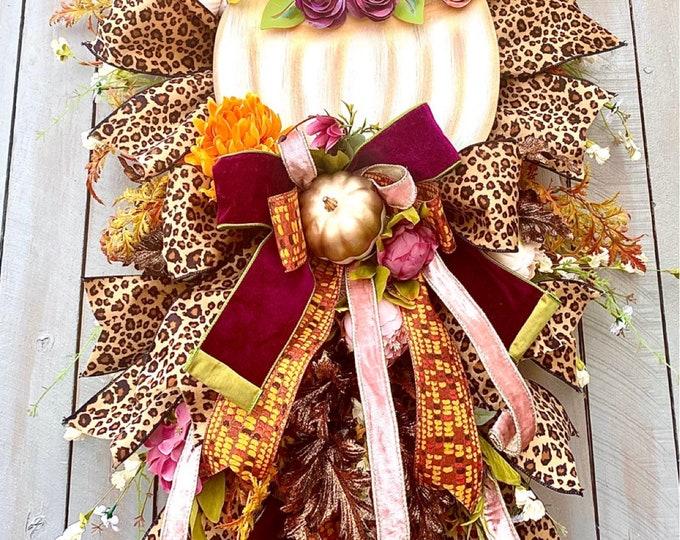 Featured listing image: Ritzy Glitzy Wreaths Swag, Autumn Swag, Fall Wreath, Fall Decor, Autumn Wreath, Autumn Decor, Harvest Wreath, pumpkin swag, fall decorations