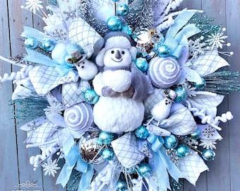 Snowman Wreath by Ritzy Glitzy Wreaths, Christmas Wreath,  Snowman Decor, Candy Wreath, Candy Snowman, Holiday Wreath, Front Door Wreath