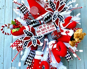 Ritzy Glitzy Wreaths Harlequin Wreath, snow girl swag, Christmas Wreath,  Front Door Wreath, Holiday Winter Wreath, Dog wreath, Winter Swag