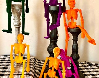 Skeleton, Halloween skeleton , pink skeleton, Halloween decor, Flocked skeleton, yellow skeleton, green skeleton, purple skeleton,