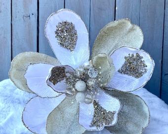 Grand magnolia ivory, beaded jewel magnolia, designer beaded magnolias, ivory Christmas floral magnolias