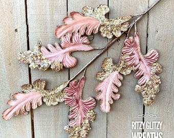 Pink velvet acanthus, pink winter velvet leaves, pink sequins acanthus flowers,  velvet pink floral