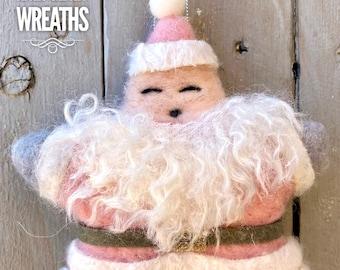 Pink Santa star ornament, pink Santa, pink star ornament, holiday wreath Supplies