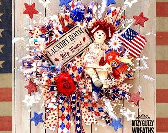 Patriotic Wreath, Americana Wreath, patriotic decor, patriotic wreaths, Americana Wreaths, patriotic decorations, wreaths