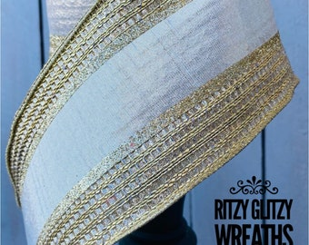 Farrisilk Ribbon, metallic gold and platinum ribbon, Wired Ribbon, Luxury Ribbon, holiday ribbon, Wreath Supplies
