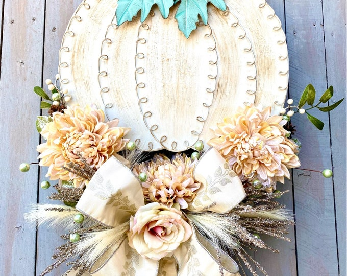Featured listing image: Pumpkin fall wreath by Ritzy Glitzy Wreaths, white pumpkin floating wreath, fall cream velvet mums, autumn door wreath