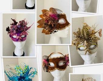 Masquerade Masks, Halloween masks,blue masks, pink purple masks, masquerade party, October 31, Mardi Gras masks, Venetian Masks