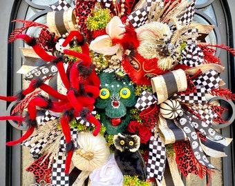 Ritzy Glitzy Wreaths Skeleton wreath for front door, skull and spider wreath, Halloween wreath for front door, Halloween Door wreath, oct 31