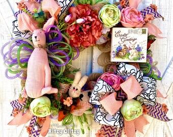Easter Bunny Wreath, Easter Bunny Door Wreaths, Easter Wreaths for Front Doors, Spring Door Decor. Ritzy Glitzy Wreaths decor