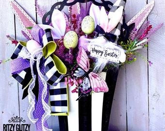 Easter floral arrangement, Easter floral basket, Easter decor, Easter Wall Floral basket