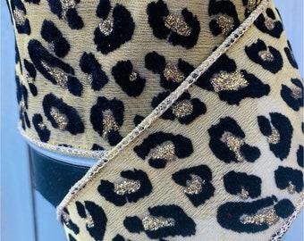 Farrisilk Ribbon, gold Leopard metallic ribbon, Wired Ribbon, Luxury Ribbon, cheetah gold ribbon, Wreath Supplies