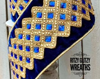 "Farrisilk Ribbon, Blue velvet with gold trim and blue gems, velvet ribbon, Luxury Ribbon, Wreath Supplies, 4"" ribbon"