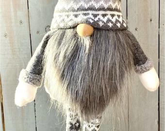 Gray winter gnome, Polar bear boot gnome, gray and white gnome, Grey gnome, winter gnome decor