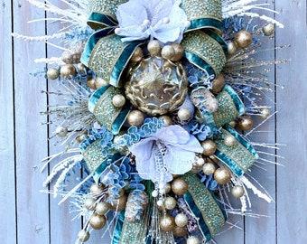 Celadon Winter Swag, Winter Swag, wedding Wreath, Celadon wreath, Winter Wreath, Holiday Baubles Decor, Door Wreath