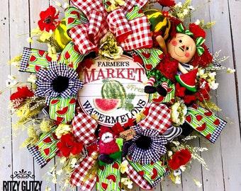Summer wreath, watermelon wreath, door wreath, Summer Decor, summer swag, Summertime wreath, Summer door wreath, ritzy glitzy wreaths