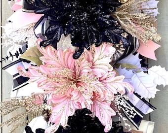 Fantasy poinsettia swag, pink Poinsettia wreath, black and pink wreath, velvet pink poinsettias