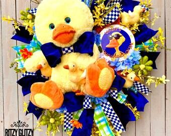 Duck wreath, Everyday Wreath,  summer wreath, Duck summer wreath, country wreath, farmhouse wreath, front door wreath