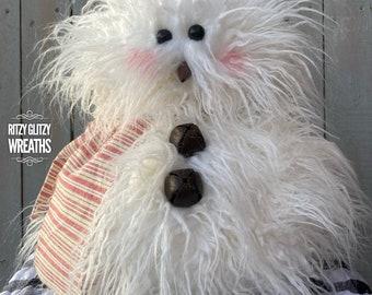 Chumley, snowman, abominable snowman, winter snowman, Holiday snowman decor, winter snowman