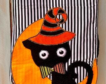 Halloween Cat Table Runner, D.Stevens Table Runner, Fall Cat Table Runner