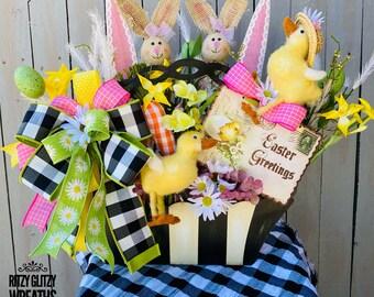 Ritzy Glitzy Wreaths,Easter floral arrangement, Easter floral basket, Easter decor, Easter Wall Floral basket
