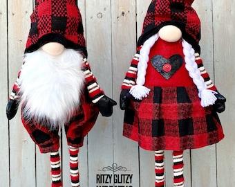 Buffalo check gnomes, boy and girl gnomes, red and black check gnomes